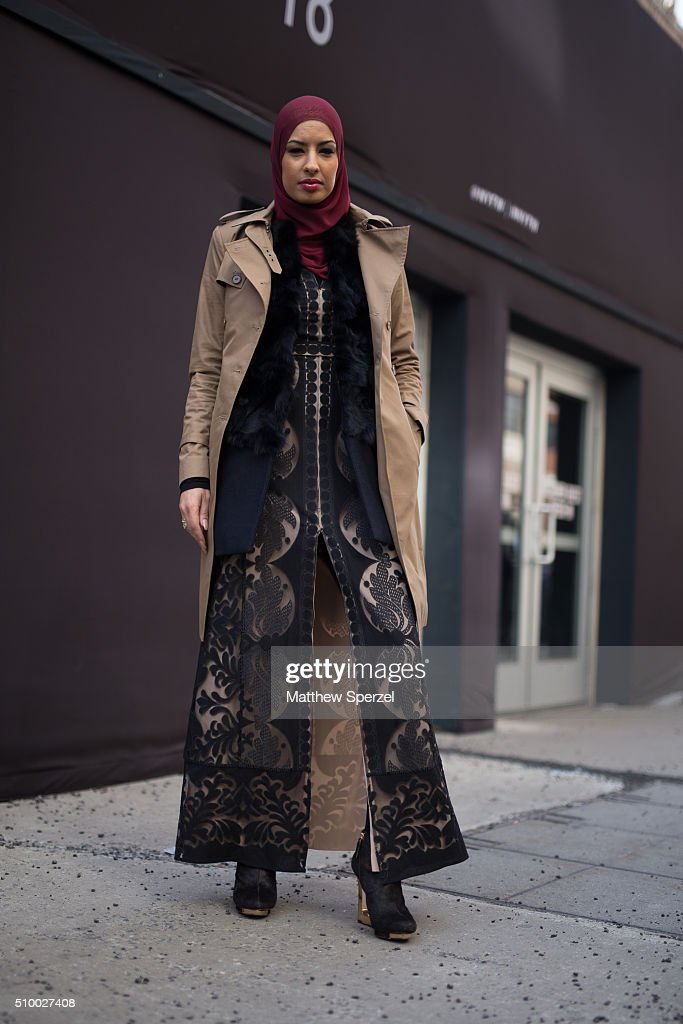 Eman B Fendi is seen at Herve Leger by Max Azria wearing a BCBG dress during New York Fashion Week: Women's Fall/Winter 2016 on February 13, 2016 in New York City.
