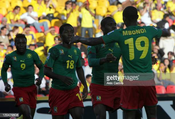 Emannuel Mbongo from Cameroon celebrate his goal during a match of Group B between Uruguay and Cameroon as part of the FIFA U20 World Cup at the...