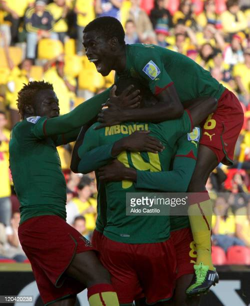 Emannuell Mbongo from Cameroon celebrate his goal during a match of Group B between Uruguay and Cameroon as part of the FIFA U20 World Cup at the...