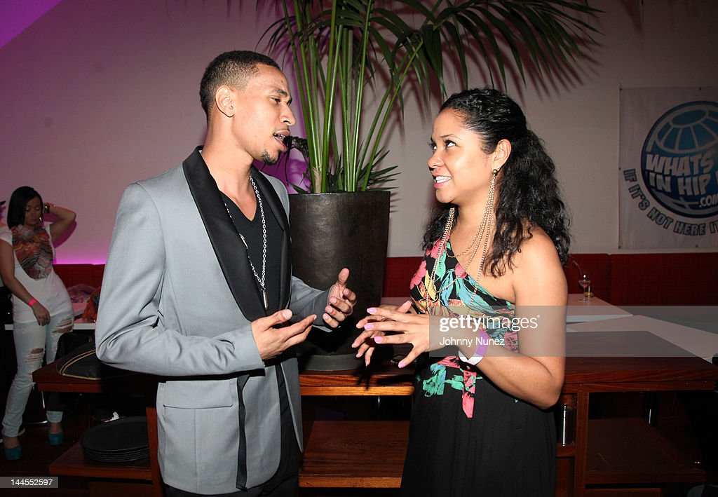 Emanny and <a gi-track='captionPersonalityLinkClicked' href=/galleries/search?phrase=Angela+Yee&family=editorial&specificpeople=4443054 ng-click='$event.stopPropagation()'>Angela Yee</a> attend Hudson Cafe on May 15, 2012 in New York City.