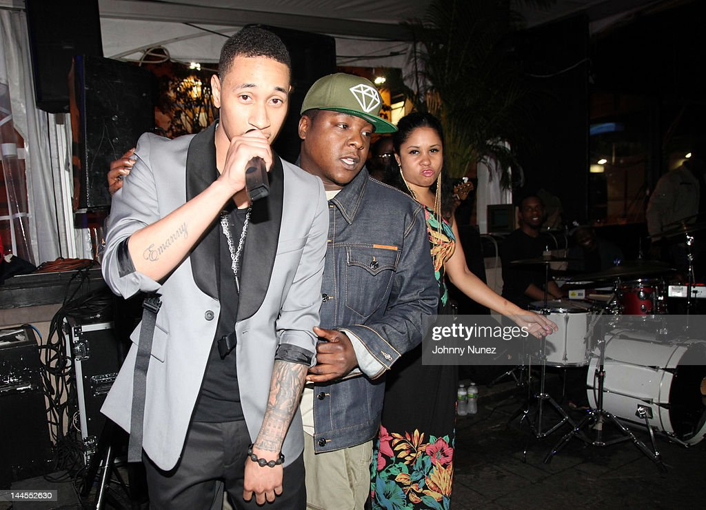 Emanny, <a gi-track='captionPersonalityLinkClicked' href=/galleries/search?phrase=Jadakiss&family=editorial&specificpeople=224058 ng-click='$event.stopPropagation()'>Jadakiss</a>, and <a gi-track='captionPersonalityLinkClicked' href=/galleries/search?phrase=Angela+Yee&family=editorial&specificpeople=4443054 ng-click='$event.stopPropagation()'>Angela Yee</a> attend Hudson Cafe on May 15, 2012 in New York City.