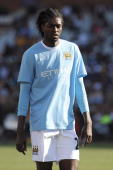 Emanuel Adebayor of Manchester City looks on during the final of the 2009 Vodacom Challenge match between Kaizer Chiefs and Manchester City from...