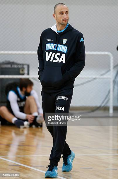 Emanuel Ginobili of Argentina looks on after Argentina Training Session at CeNARD on July 09 2016 in Buenos Aires Argentina