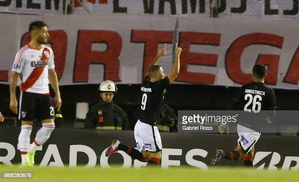 Emanuel Herrera of Melgar celebrates after scoring the first goal of his team during a match between River Plate and FBC Melgar as part of Copa...