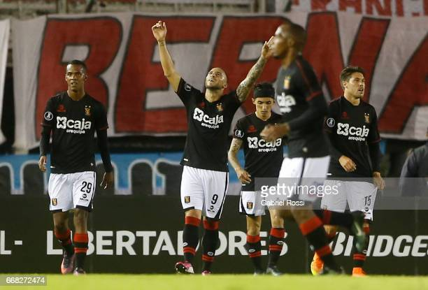 Emanuel Herrera of Melgar celebrates after scoring the second goal of his team during a match between River Plate and FBC Melgar as part of Copa...