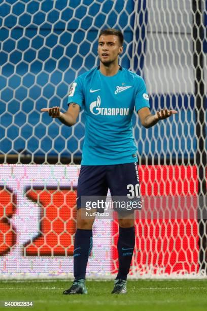 Emanuel Mammana of FC Zenit Saint Petersburg gestures during the Russian Football League match between FC Zenit St Petersburg and FC Rostov at Saint...