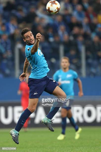 Emanuel Mammana of FC Zenit Saint Petersburg vie for the ball during the UEFA Europa League Group L football match between FC Zenit Saint Petersburg...