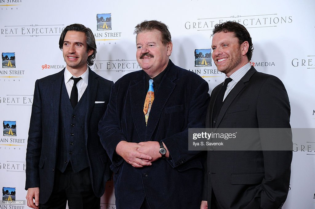 Emanuel Michael, <a gi-track='captionPersonalityLinkClicked' href=/galleries/search?phrase=Robbie+Coltrane&family=editorial&specificpeople=644111 ng-click='$event.stopPropagation()'>Robbie Coltrane</a> and David Faigenblum attend the New York premiere of 'Charles Dickens' Great Expectations' at AMC Loews Lincoln Square 13 theater on November 5, 2013 in New York City.
