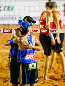 Emanuel Rego and Ricardo Santosof Brazil competes in the main draw match against Germany at Jose Correa Gymnasium during day four of the FIVB Sao...