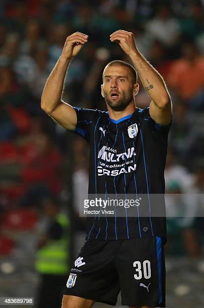 Emanuel Villa of Queretaro reacts during a fourth round match between Queretaro and Santos as part of Apertura 2015 Liga MX at La Corregidora Stadium...