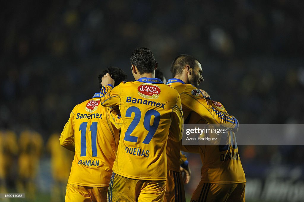 <a gi-track='captionPersonalityLinkClicked' href=/galleries/search?phrase=Emanuel+Villa&family=editorial&specificpeople=3061294 ng-click='$event.stopPropagation()'>Emanuel Villa</a> of Tigres celebrates a goal during the match between Tigres and Jaguares as part of theClausura 2013 championship at Universitario Stadium on January 05, 2013 in Monterrey, Mexico.
