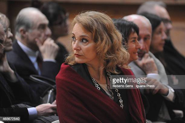 Emanuela La Manna wife of the italian actor Toni Servillo attends the ceremony where her husband is graduated honoris causa in Teather and Music...