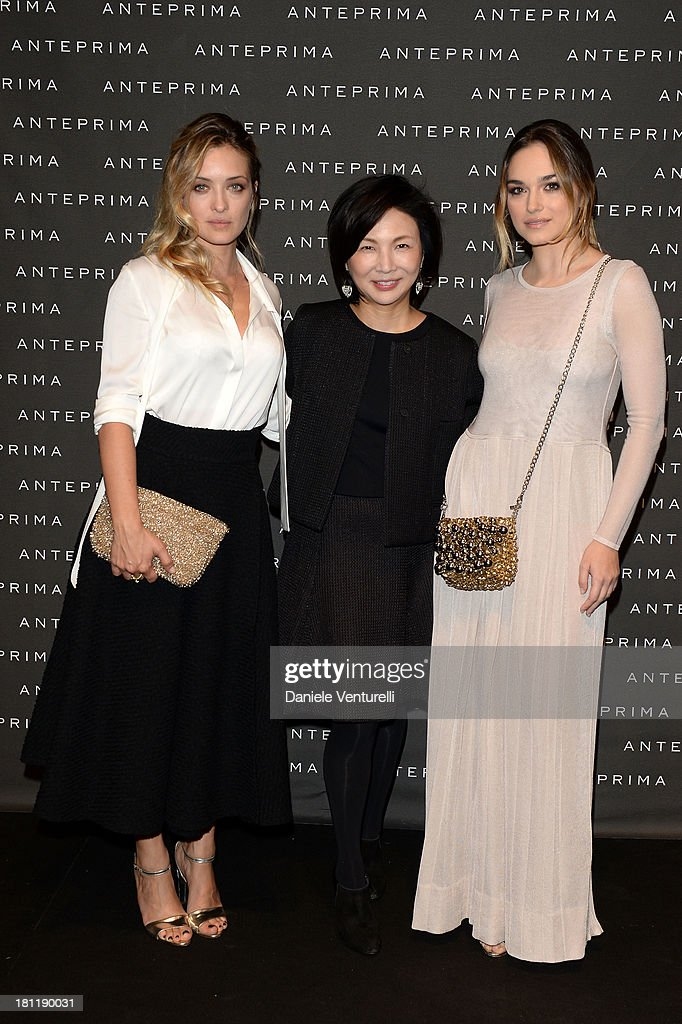 Emanuela Postacchini, Izumi Ogino and <a gi-track='captionPersonalityLinkClicked' href=/galleries/search?phrase=Carolina+Crescentini&family=editorial&specificpeople=4123553 ng-click='$event.stopPropagation()'>Carolina Crescentini</a> attend Anteprima Event during the Milan Fashion Week Womenswear Spring/Summer 2014 on September 19, 2013 in Milan, Italy.
