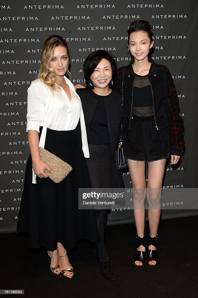 Emanuela Postacchini, Izumi Ogino and Model attend Anteprima Event during the Milan Fashion Week Womenswear Spring/Summer 2014 on September 19, 2013 in Milan, Italy.