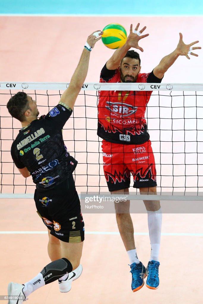 emanuele birarelli perugia blocking during cev volleyball champions league semifinal sir sicoma colussi perugia