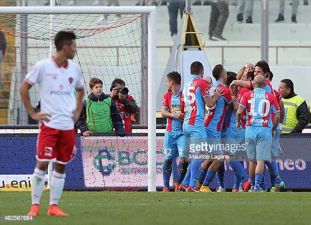 Emanuele Calaio of Catania celebrates with his teammates after scoring the second goal during the Serie B match between Calcio Catania and AC Perugia...