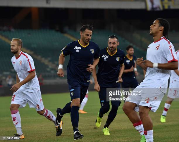 Emanuele Calaio' of Parma Calcio celebrates after scoring the opening goal during the TIM Cup match between AS Bari and Parma Calcio at Stadio San...