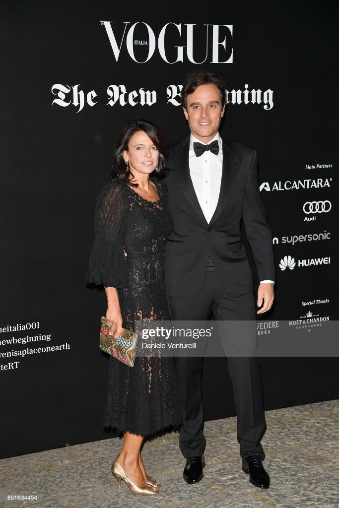 Emanuele Farneti (R) and Roberta Farneti (L) attend the Vogue Italia 'The New Beginning' Party during Milan Fashion Week Spring/Summer 2018 on September 22, 2017 in Milan, Italy.