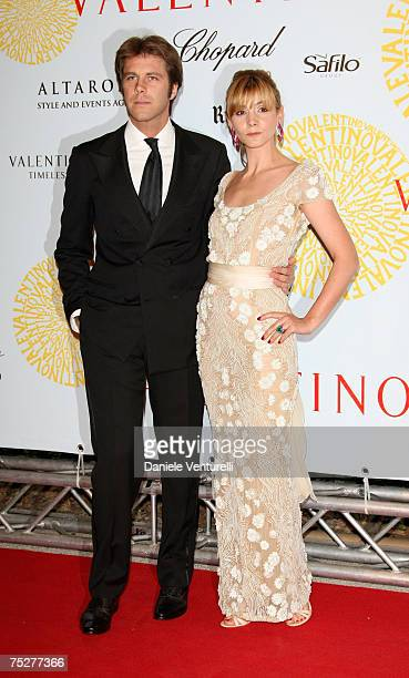 Emanuele Filiberto di Savoia and Clotilde Courau arrive for the 'Valentino 45th Anniversary Celebration' Gala held at the Villa Borghese in the Parco...