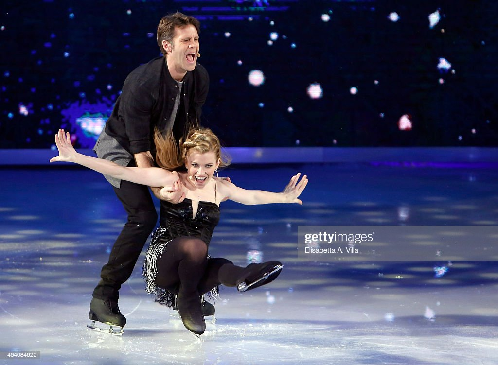Emanuele Filiberto di Savoia and his skating partner Jennifer Wester perform during the 'Notti Sul Ghiaccio' TV Show at RAI Studios on February 21...