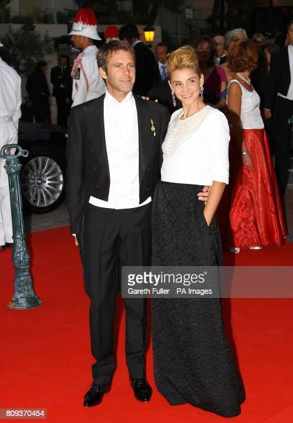 Emanuele Filiberto of Savoia and Princess Clotilde arriving for the official dinner for Prince Albert II of Monaco and Charlene Wittstock at the...