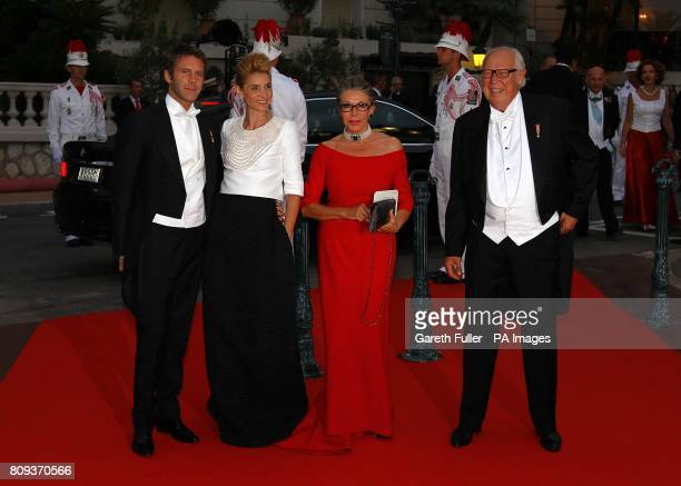 Emanuele Filiberto of Savoia Princess Clotilde Princess Marina and Prince Vittorio Emanuele arriving for the official dinner for Prince Albert II of...