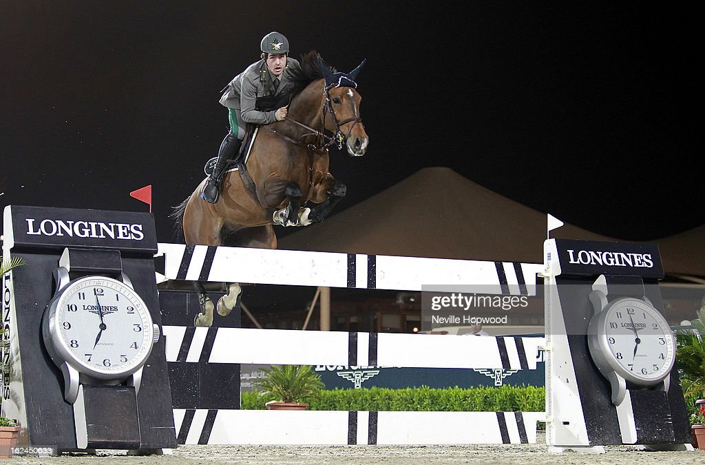 Emanuele Gaudiano of Italy rides Cocoshynsky during the President of the UAE Showjumping Cup - Furusiyyah Nations Cup Series presented by Longines on February 23, 2013 in Al Ain, United Arab Emirates.