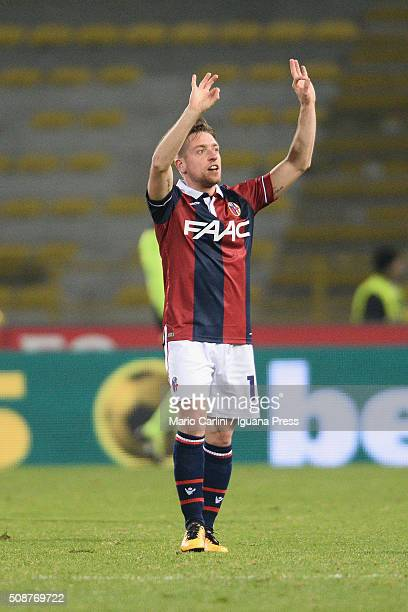 Emanuele Giaccherini# 17 of Bologna FC celebrates after scoring his team's opening goal during the Serie A match between Bologna FC and ACF...