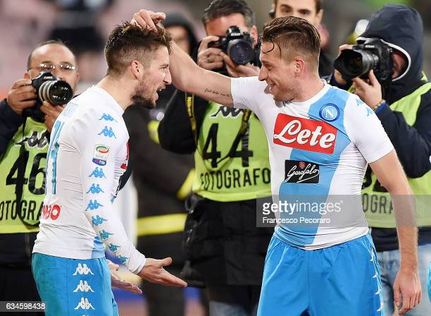 Emanuele Giaccherini and Dries Mertens of SSC Napoli celebrate the 20 goal scored by Emanuele Giaccherini during the Serie A match between SSC Napoli...