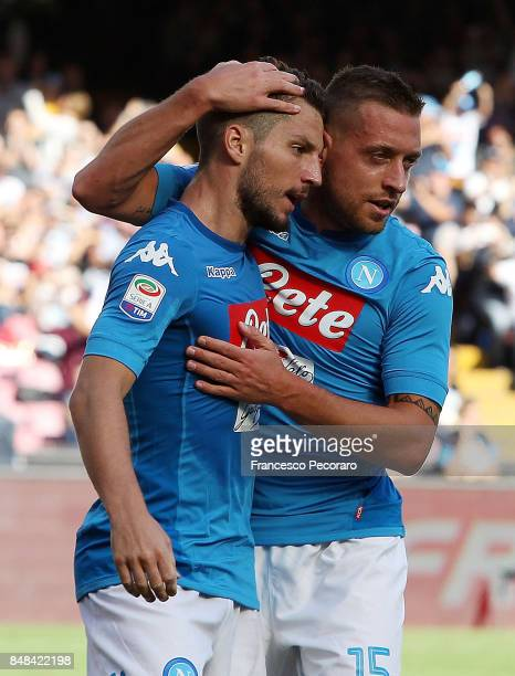 Emanuele Giaccherini and Dries Mertens of SSC Napoli celebrate the 50 goal scored by Dries Mertens during the Serie A match between SSC Napoli and...
