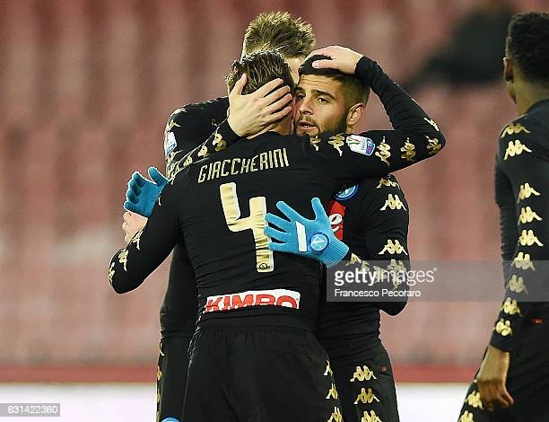 Emanuele Giaccherini and Lorenzo Insigne of SSC Napoli celebrate the 21 goal scored by Emanuele Giaccherini during the TIM Cup match between SSC...