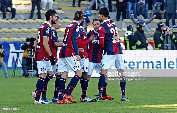 Emanuele Giaccherini of Bologna FC celebrates after scoring the opening goal during the Serie A match between Bologna FC and SS Lazio at Stadio...
