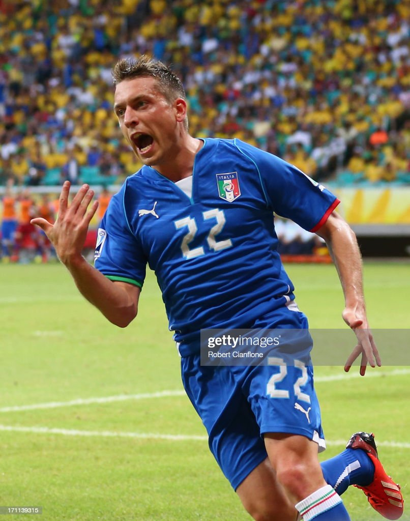 <a gi-track='captionPersonalityLinkClicked' href=/galleries/search?phrase=Emanuele+Giaccherini&family=editorial&specificpeople=6675873 ng-click='$event.stopPropagation()'>Emanuele Giaccherini</a> of Italy (22) celebrates as he scores their first goal during the FIFA Confederations Cup Brazil 2013 Group A match between Italy and Brazil at Estadio Octavio Mangabeira (Arena Fonte Nova Salvador) on June 22, 2013 in Salvador, Brazil.