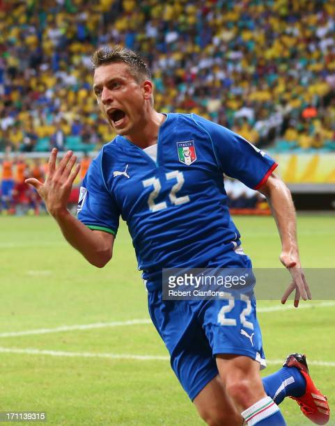 Emanuele Giaccherini of Italy celebrates as he scores their first goal during the FIFA Confederations Cup Brazil 2013 Group A match between Italy and...