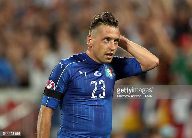 Emanuele Giaccherini of Italy during the UEFA Euro 2016 quarter final match between Germany and Italy at Stade Matmut Atlantique on July 2 2016 in...