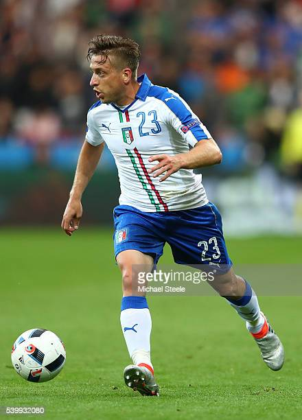 Emanuele Giaccherini of Italy in action during the UEFA EURO 2016 Group E match between Belgium and Italy at Stade des Lumieres on June 13 2016 in...