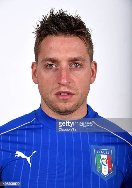 Emanuele Giaccherini of Italy poses during the official portrait session at Coverciano on November 10 2015 in Florence Italy