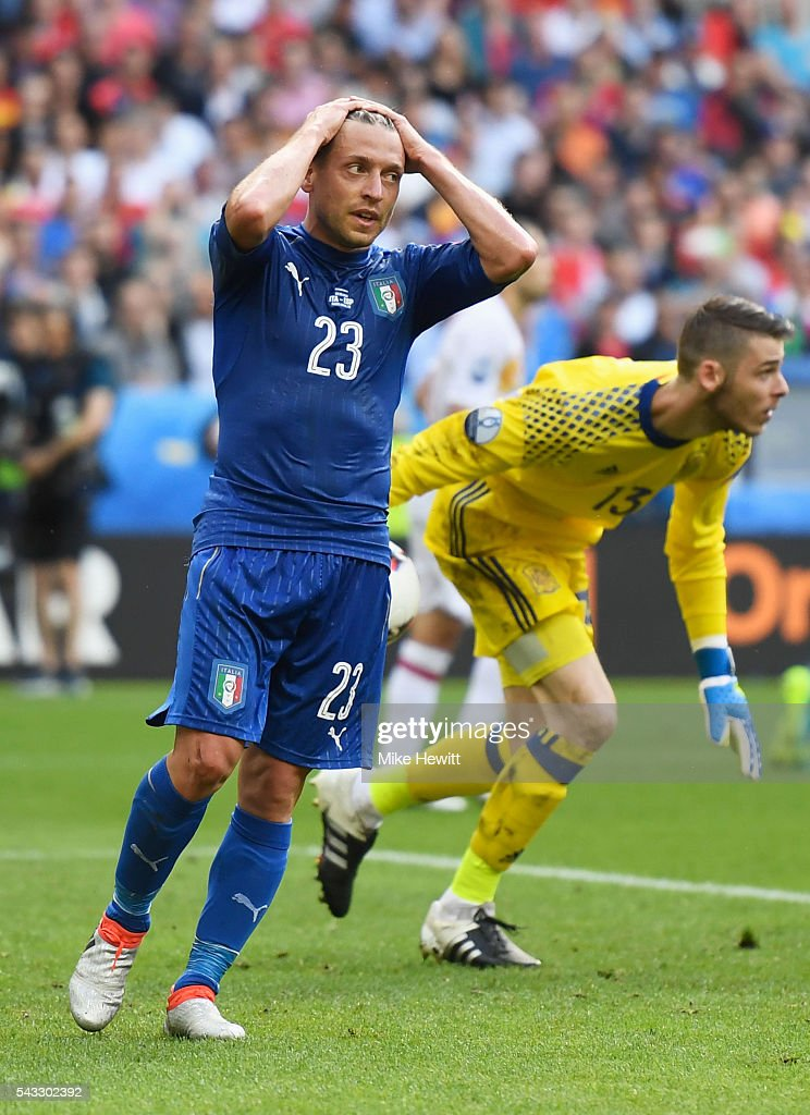 <a gi-track='captionPersonalityLinkClicked' href=/galleries/search?phrase=Emanuele+Giaccherini&family=editorial&specificpeople=6675873 ng-click='$event.stopPropagation()'>Emanuele Giaccherini</a> of Italy reacts after missing a chance during the UEFA EURO 2016 round of 16 match between Italy and Spain at Stade de France on June 27, 2016 in Paris, France.