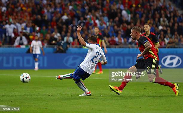 Emanuele Giaccherini of Italy scores his team's first goal during the UEFA EURO 2016 Group E match between Belgium and Italy at Stade des Lumieres on...