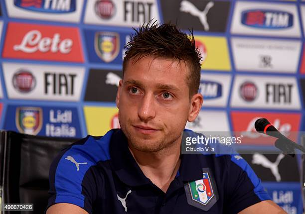 Emanuele Giaccherini of Italy speaks to the media during a press conference at Coverciano on November 11 2015 in Florence Italy