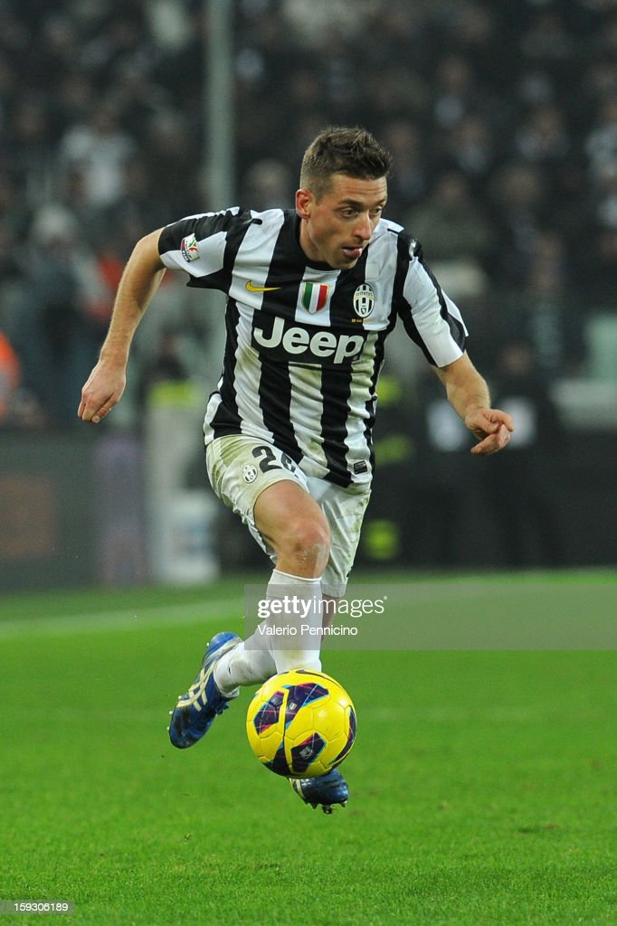 Emanuele Giaccherini of Juventus FC in action during the TIM cup match between Juventus FC and AC Milan at Juventus Arena on January 9, 2013 in Turin, Italy.