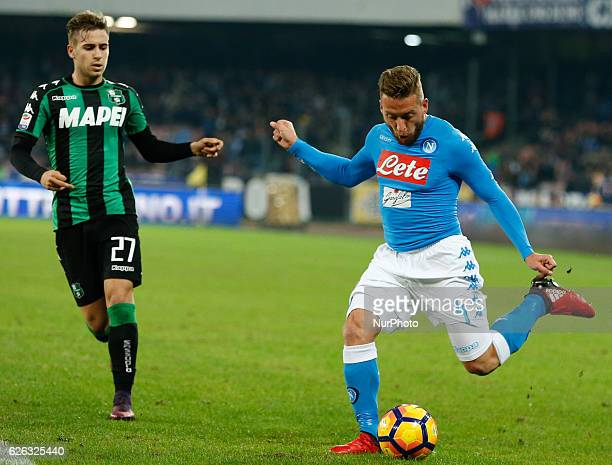 Emanuele Giaccherini of Naples vies Federico Ricci of Sassuolo during the Italian Serie A football match between Napoli and Sassuolo Calcio at the...