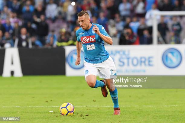 Emanuele Giaccherini of SSC Napoli in action during the Serie A match between SSC Napoli and US Sassuolo at Stadio San Paolo on October 29 2017 in...