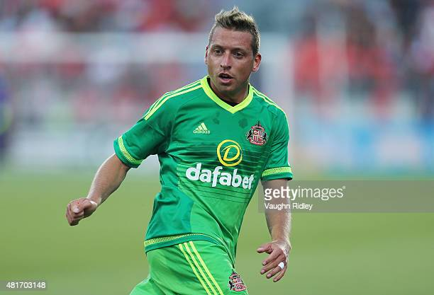 Emanuele Giaccherini of Sunderland AFC in action during a friendly match against Toronto FC at BMO Field on July 22 2015 in Toronto Ontario Canada