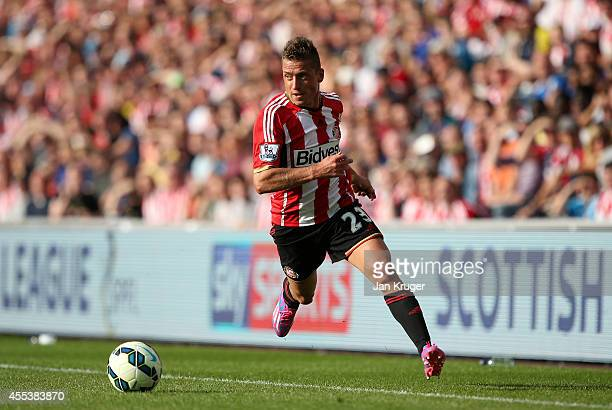 Emanuele Giaccherini of Sunderland controls the ball during the Barclays Premier League match between Sunderland and Tottenham Hotspur at Stadium of...
