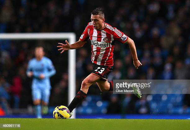 Emanuele Giaccherini of Sunderland in action during the Barclays Premier League match between Manchester City and Sunderland at Etihad Stadium on...