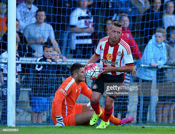 Emanuele Giaccherini of Sunderland retrieves the ball from Darlington goal keeper Peter Jameson after scoring in the first half during a pre season...