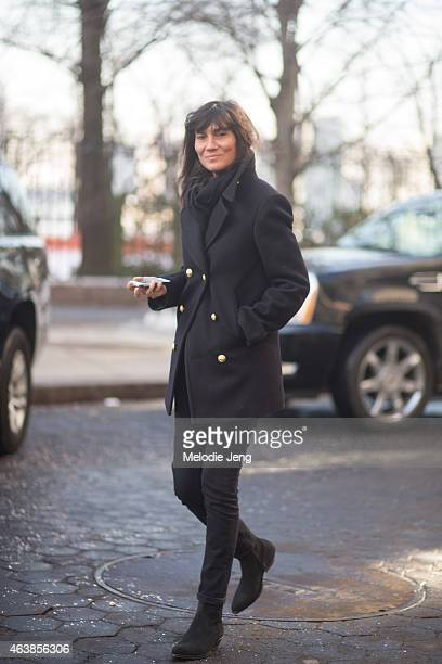 Emanuelle Alt Vogue Paris editorinchief exits the Hugo Boss show on the streets of Manhattan on February 18 2015 in New York City