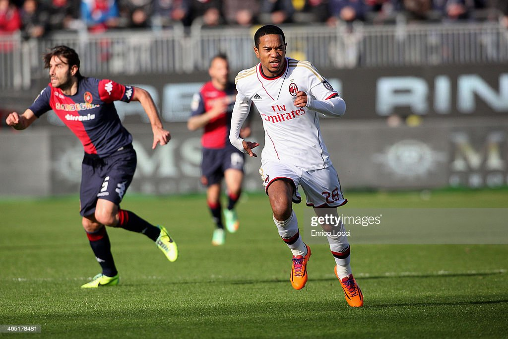 Emanuelson Urby of Milan in action during the Serie A match between Cagliari Calcio and AC Milan at Stadio Sant'Elia on January 26 2014 in Cagliari...