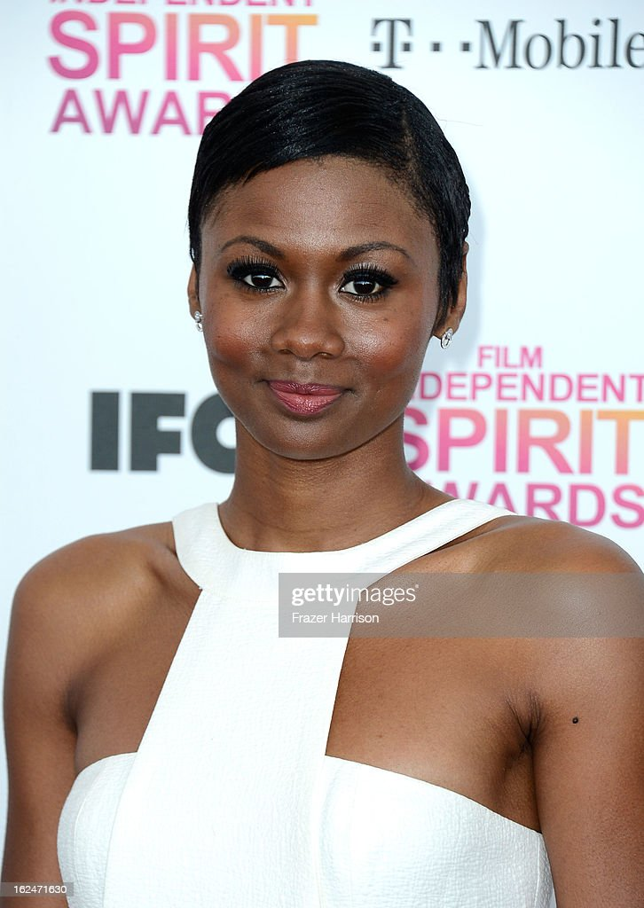 Emayatzy Corinealdi attends the 2013 Film Independent Spirit Awards at Santa Monica Beach on February 23, 2013 in Santa Monica, California.